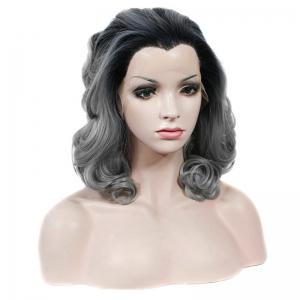 Bouffant Curly Heat Resistant Fiber Vogue Black Gray Mixed Medium Lace Front Wig For Women -