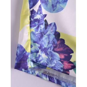 Stylish Mid-Waisted Zippered Bodycon Printed Culottes Shorts - WHITE AND PURPLE M