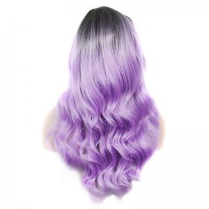 Stylish Long Rooted Black Ombre Lilac Capless Shaggy Wave Synthetic Wig For Women - BLACK/PURPLE