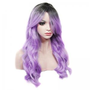 Stylish Long Rooted Black Ombre Lilac Capless Shaggy Wave Synthetic Wig For Women -