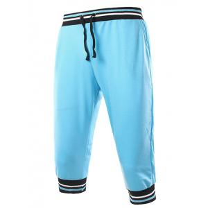 Lace-Up Stripe Rib Splicing Design Beam Feet Cropped Jogger Pants