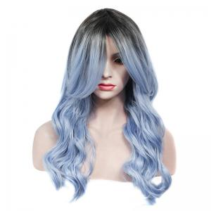 Vogue Rooted Glacier Blue Ombre Capless Fluffy Wave Long Synthetic Wig For Women