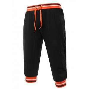 Lace-Up Stripe Rib Splicing Design Beam Feet Cropped Jogger Pants - Black And Orange - 2xl