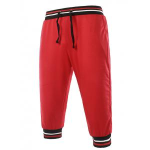 Lace-Up Stripe Rib Splicing Design Beam Feet Cropped Jogger Pants - Red - 2xl