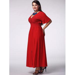 Elegant Plus Size Plunging Neck Short Sleeve Solid Color Women's Prom Dress -