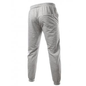 Slimming Trendy Lace-Up Letter Number Print Beam Feet Polyester Men's Sweatpants - LIGHT GRAY XL