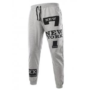 Slimming Trendy Lace-Up Letter Number Print Beam Feet Polyester Men's Sweatpants - LIGHT GRAY L