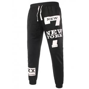 Slimming Trendy Lace-Up Letter Number Print Beam Feet Polyester Men's Sweatpants - BLACK 2XL