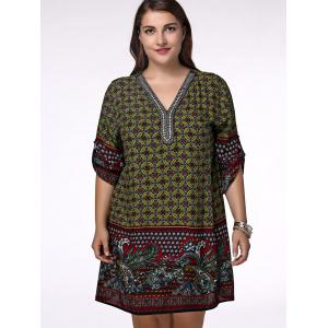 Ethnic Plus Size V Neck Floral Print Rhinestoned Women's Blouse - OLIVE GREEN XL