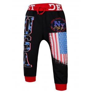 Lace-Up Color Block Spliced Flag and Letters Print Beam Feet Jogger Shorts For Men
