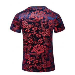 Tribal Print PU Leather Spliced V-Neck Short Sleeves T-Shirt For Men - COLORMIX 5XL