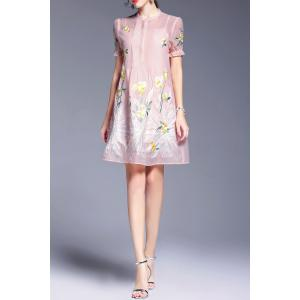 Perspective Floral Embroidery Dress and Cami Tank Top - PINK XL