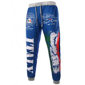 Loose Fit Stylish Lace-Up Italy National Emblem Print Beam Feet Men's Polyester Sweatpants - Blue - L