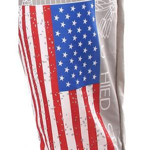 USA Print Beam Feet Lace-Up American Flag Sweatpants -