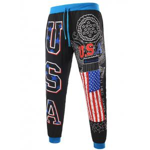 USA Print Beam Feet Lace-Up American Flag Sweatpants