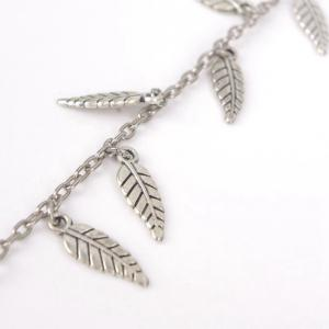 Leaves Pendant Toe Ring Anklet - SILVER