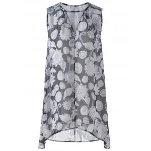 Sleeveless Loose-Fitting V-Neck Floral Print Mini Dress