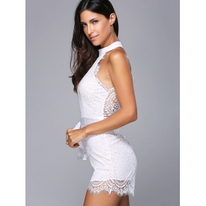 Sleeveless Tie Belt Lace High Neck Romper - WHITE S