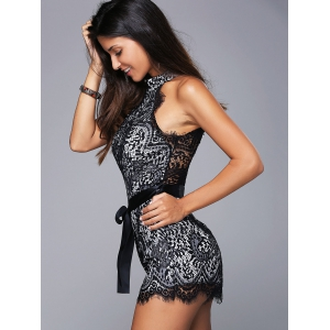 Sleeveless Tie Belt Lace High Neck Romper -