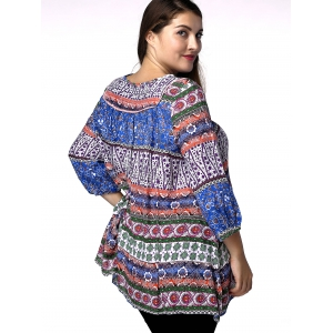 Ethnic Plus Size Keyhole Neck 3/4 Sleeve Abstract Pattern Women's Blouse -