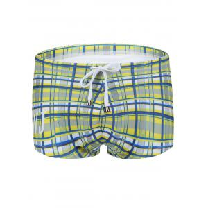 Slimming Plaid Printed Lace Up Swimwear For Men