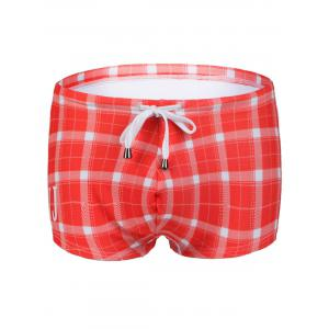 Slimming Plaid Printed Lace Up Swimwear For Men - Sweet Orange - S