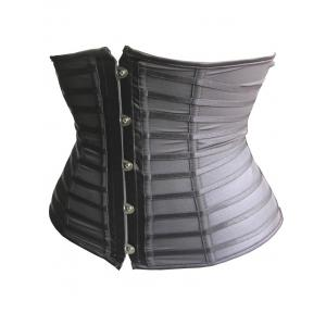 Trendy Button Embellished See-Through Patchwork Women's Corset - BLACK S