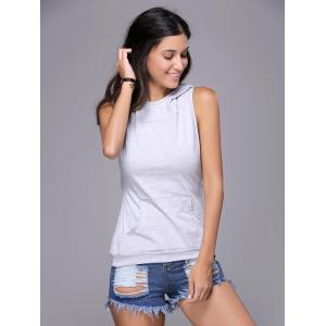 Chic Women's Hooded Sleeveless Pure Color Cut Out Tank Top -