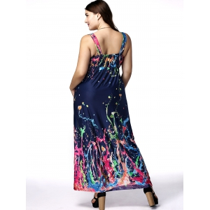 Plus Size Plunging Neck Scrawl Print Dress -