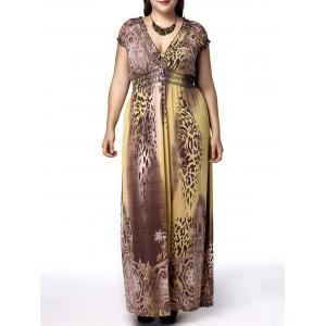 Plunge Leopard Maxi Dress for Plus Size