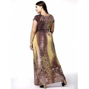Plunge Leopard Maxi Dress for Plus Size -