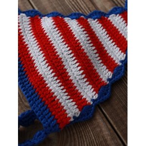 Halter American Flag Crochet Bikini Set - BLUE AND RED L