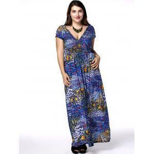 Plus Size Phoenix Tail Print Maxi Dress -