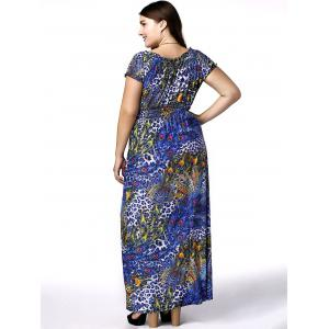 Plus Size Phoenix Tail Print Maxi Dress - BLUE 5XL