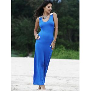 Trendy Scoop Neck Lace Spliced Sleeveless Hollow Out Women's Dress -