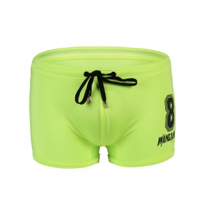Men's Slimming Lace Up Number Printed Swimwear - Neon Green - S