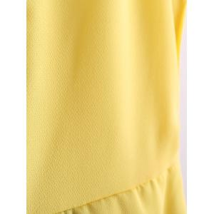 Color Block Scoop Neck Sleeveless Pleated Refreshing Style Chiffon Women's Dress (Without Belt) - YELLOW L