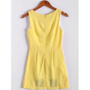 Color Block Scoop Neck Sleeveless Pleated Refreshing Style Chiffon Women's Dress (Without Belt) - YELLOW S