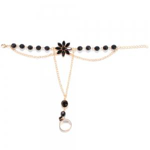 Faux Gem Floral Beaded Anklets - Black