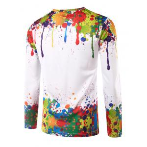 Colorful Paint Splatter Impression T-shirt manches longues - Multicolore L