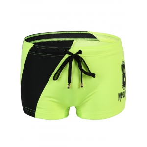 Women's Slimming Lace Up Splicing Number Printing Swimwear - Neon Green - M
