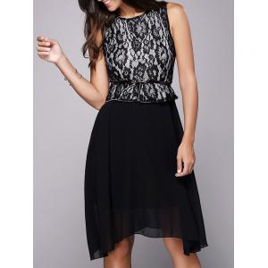 Lace Insert Belt A Line Dress