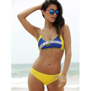 Sporty Brazilian Flag Patriotic Swimwear -