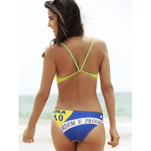 Sporty Brazilian Flag Patriotic Swimwear - BLUE AND YELLOW L