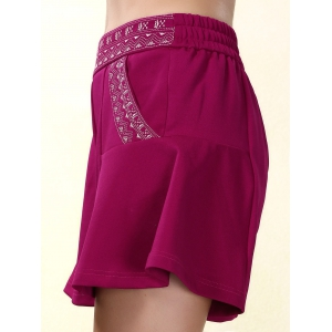 Ethnic Style Elastic Waist Loose-Fitting Embroidered Shorts For Women - PURPLISH RED L