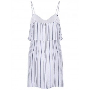 Chic Spaghetti Strap Stripe Spliced Flounce Women's Dress - STRIPE XL