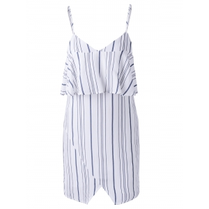 Chic Spaghetti Strap Stripe Spliced Flounce Women's Dress - Stripe - Xl