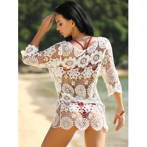 Hollow Out Crochet Swimsuit Cover-Up - WHITE ONE SIZE(FIT SIZE XS TO M)