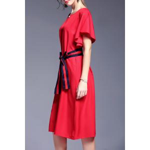 Belted Bowknot Hit Color Dress -