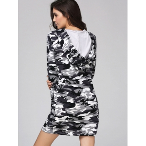 Camouflage Hooded Long Sleeve Shift Dress -